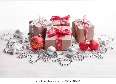 Christmas background with gift on white background. Merry christmas card. Winter holiday theme. Happy New Year. Space for text.