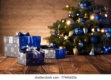 christmas background gifts blue and gold decorations ez canvas - Blue And Gold Christmas Decorations