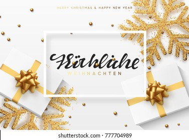 Christmas background with gifts and shining golden snowflakes. German text Frohliche Weihnachten.
