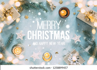 Christmas background with gifts and text - Merry Christmas and Happy New Year.