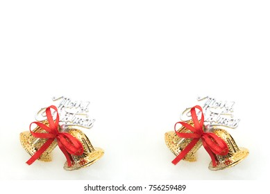 Christmas background with gold bell and red ribbin.