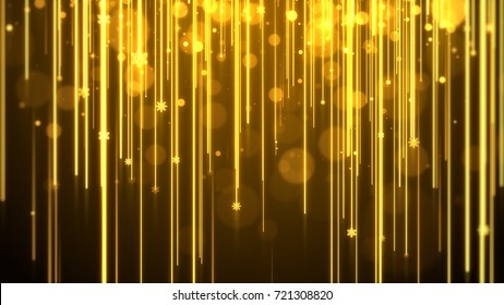 Christmas background (gold theme), with lights streak , bokeh glittering and particles snowflake.