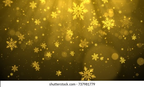Christmas background (gold theme) with snowflakes, shiny lights and particles bokeh in stylish and elegant theme.