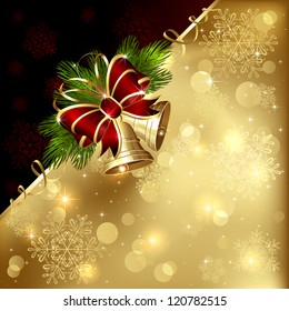 Christmas background with golden bells, bow and tinsel, illustration.