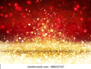 Christmas Background - Golden Glitter On Shiny Red