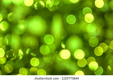 Christmas background of green lights