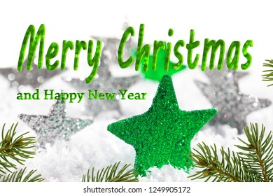 Christmas background with green stars and text Merry Christmas