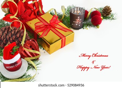 Christmas background, greeting card with poinsettia, gift, fir branches, baubles and decorations on white background