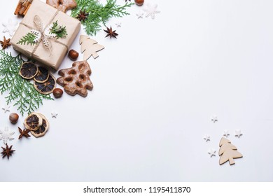 Christmas background for greeting cards, banners and party posters. New Year's eve celebration, sale, presents concept. Beautiful gift boxes composition, flat lay with copyspace
