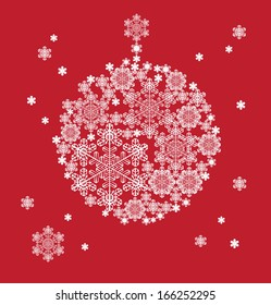 Christmas background hanging ball  silhouette formed  snowflakes