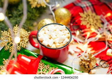 christmas christmas background happy new year holiday red mug with hot chocolate white