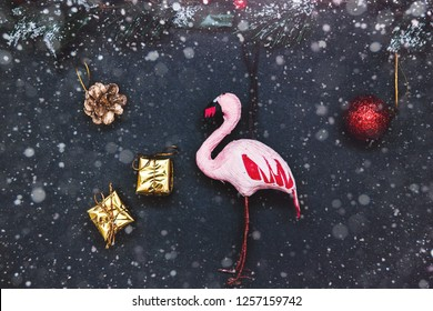 Christmas background and happy New Year, gift boxes, decorations, pink flamingo, Selective focus Holiday.