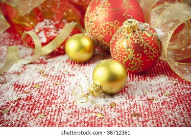 Christmas Background / Holiday Decorations with  baubles and ribbons