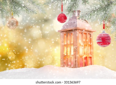 Christmas background with lantern