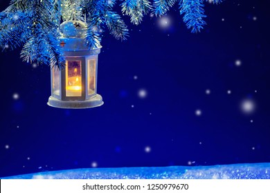 Christmas background with lantern.Winter background.
