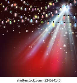 Christmas background with Christmas lights.