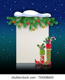 Christmas background. Magic holiday greeting card for art title. Blank banner for felicitation, invitation, congratulation. 3D illustration.