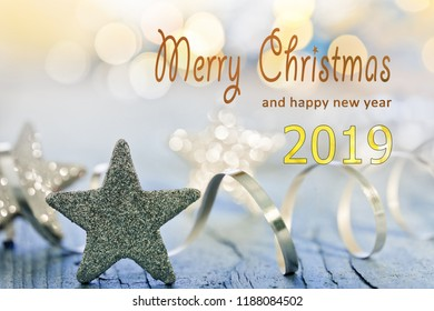 Christmas background with Merry Christmas and happy new year 2019