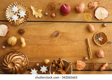 Christmas background, mockup, postcard or website header design with copyspace on wooden table
