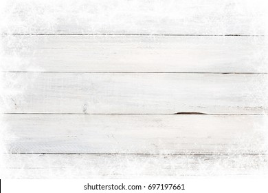 Christmas background - Old white wood texture with snow.  top view, border design. vintage and rustic style