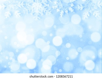 Christmas background on light blue background and bokeh