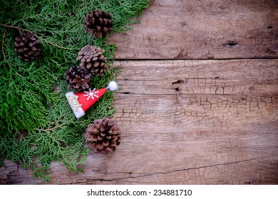 christmas background on old wood