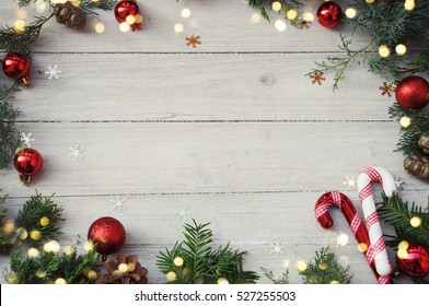 Christmas background on the white wooden desk
