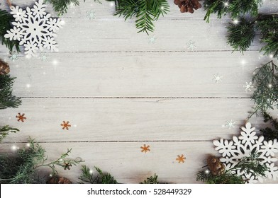 christmas background on white wooden 260nw 528449329