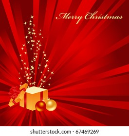 Christmas background with open gift.
