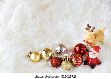 Christmas background with ornaments, copy space decoration with fir.