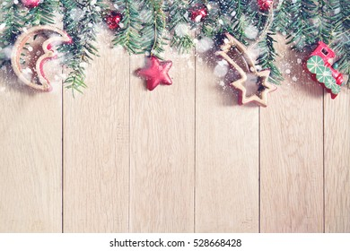 Christmas background with ornaments,christmas tree and snowflakes