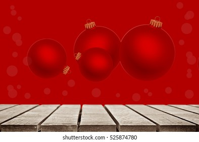 A Christmas background over a wooden terrace.