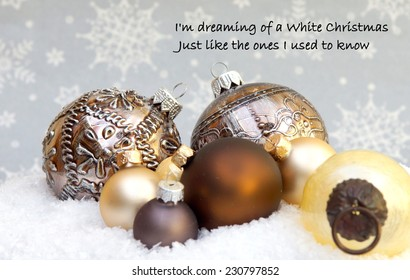Christmas background with a quote  from the famous Christmas song ; I'm dreaming of a white christmas