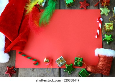 Christmas background with red paper