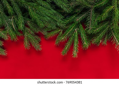 Christmas Background Red Real Tree For Text