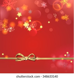 Christmas background in red with stars and snowflakes