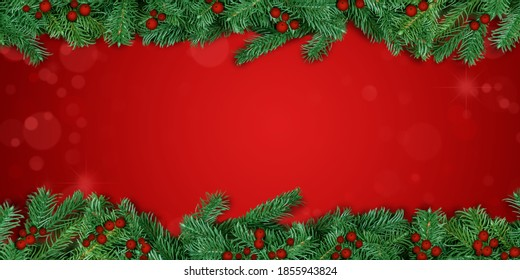 Christmas background red. Christmas tree branch borders with holly berries.