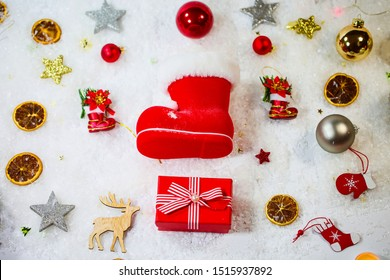Christmas background with Santa Claus boots