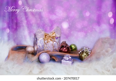 Christmas background with silver balls and present
