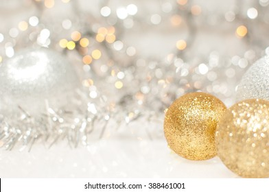 Christmas background with silver and gold Christmas balls.