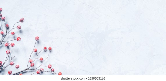 Christmas background of snow-covered branches with berries. Flat lay, top view. Copy space for text.