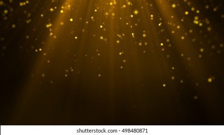 Christmas Background, snowflakes, stars, Gold light Theme