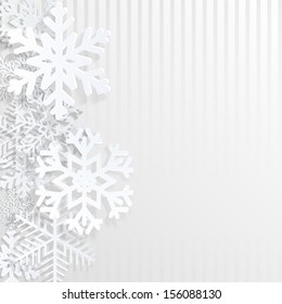 Christmas background with snowflakes and strips. Raster version.
