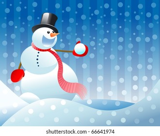 christmas background, snowman illustration