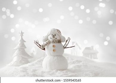 Christmas background with snowman, winter lanscape