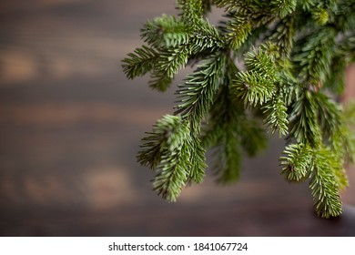 Christmas background. Spruce branch on a wooden background.  Focus on the branch.