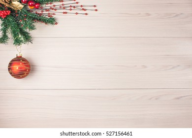 Christmas background with spruce branch red ball