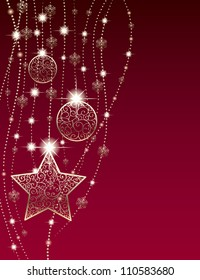 Christmas background with star, baubles and garlands
