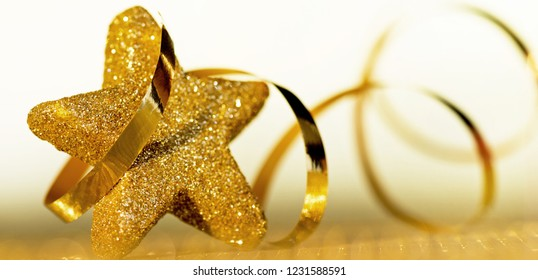 Christmas background. Christmas star with a ribbon.