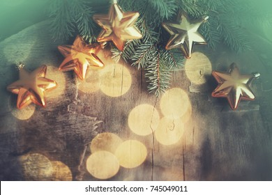 Christmas background with stars and lights